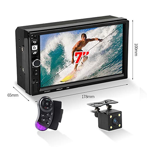 MiCarBa Doppel Din Auto Stereo Bluetooth Radio Video Player, 7 Zoll HD 1024 * 600 Touchscreen Auto Video Stereo, Auto MP5 Player mit Kamera Unterstützung FM Android Telefon Spiegel Link (CL7043CAM)