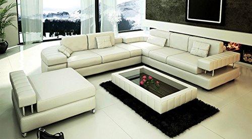 Ledersofa Sofagarnitur Couchgarnitur weiß Ledercouch 3-Sitzer + Daybed + XL Hocker Ecksofa Couch Design Sofa VALENTINO - 3