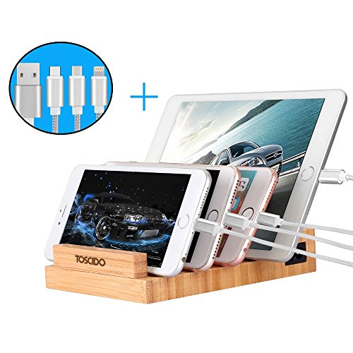 Bambù Stazione Di Ricarica-TOSCIDO W903 Dock Di Ricarica In Legno, Incluso 3-in-1 Cavo Di Ricarica Rapido USB, 3 Porte USB, 100% Bambù Naturale Per iWatch, iPad, iPhone, Smartphone