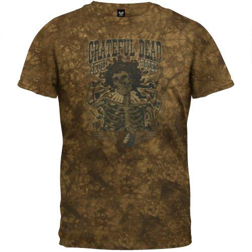 Rose Tie Dye T-shirt (Old Glory Grateful Dead–Herren 71Totenkopf und Rosen Tie Dye T-Shirt, Braun, 043300 GD TS XL)