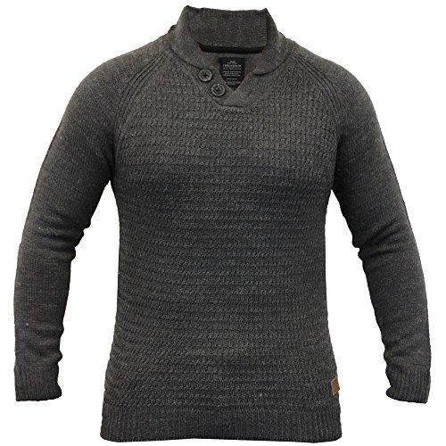 Herren Wollmischung Pullover Threadbare Strickpulli Schalkragen Pullover Winter Neu Dunkelgrau - IMV038PKA