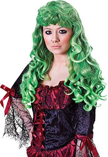 Damen Kostüm Halloween Party Cheryl lockig lang falsch & KÜNSTLICHES Perücke - Grün/schwarz, Einheitsgröße, One size (Cheryl Halloween Kostüm)