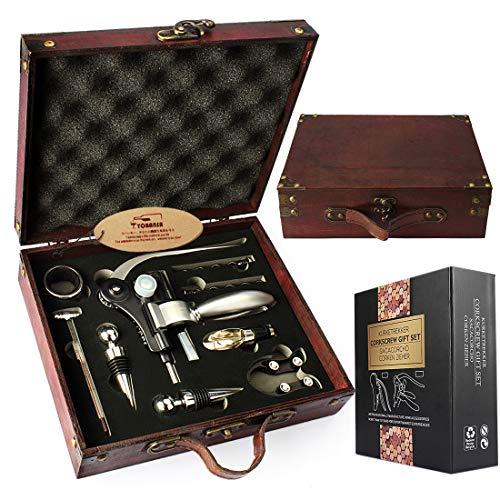 YOBANSA Caja de madera antigua accesorios para vino juego de regalo, kit de abrebotellas de vino de...
