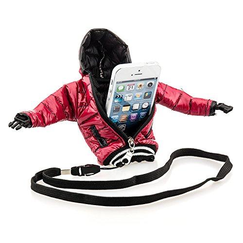 Saxonia Universal Handytasche Daunenjacke Tasche Hülle für Smartphone Handy oder MP3-Player Cover Case Schutzhülle Etui Bag Jacke, Weiß Rot