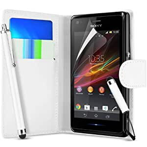 Pack of 7 White Sony Xperia E Premium Side Flip Wallet Pocket Case Cover, 2x Screen Protector and 2x Polishing Cloth + 2x High Capacitive Touch Screen Stylus