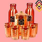 #6: Mbs Set of 1 Copper Jug (1500ml), 2 Copper Bottles (1000ml Each) & 6 Copper Glasses (300ml Each)