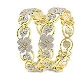 Zeneme American Diamond Floral Shape Gol...