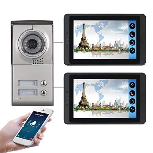 Kit Videocitofono 7' per Bifamiliare (2 Monitor + 1 Telecamera 2 Tasti) App Visione Notturna - Model: 618MC12 [Classe di efficienza energetica A]