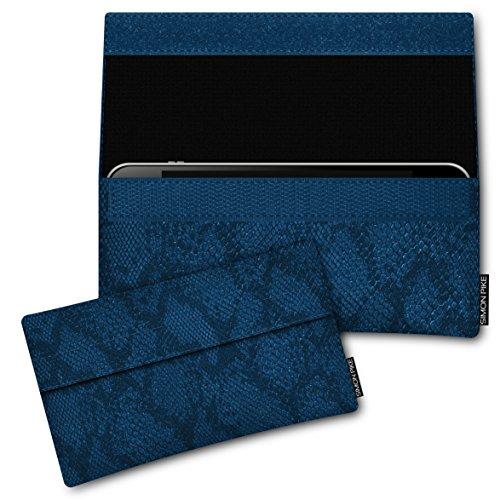 SIMON PIKE Apple iPhone 7 / 6 / 6S Ledertasche New York 01 in schwarz Leder Leder, handgefertigte Smartphone Leder Tasche aus echtem Leder blau Schlange Kunstleder (Muster 01)
