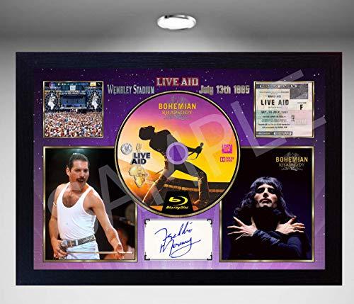 SGH SERVICES NEU! Foto, gerahmt, mit Autogramm von Freddie Mercury Queen Bohemian Rhapsody Live Aid Wembley Stadium, 13. Juli 1985