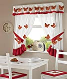 One Paar 3D Rot Schmetterling Design Küche Vorhänge INC Raffhalter & Querbehang 167,6cm W x 137,2cm L