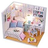 Yisuwoy Schoene Puppenhaus Mini Haus Schlafzimmer Dollhouse DIY Kit Geschenk Mit Abdeckung und Licht