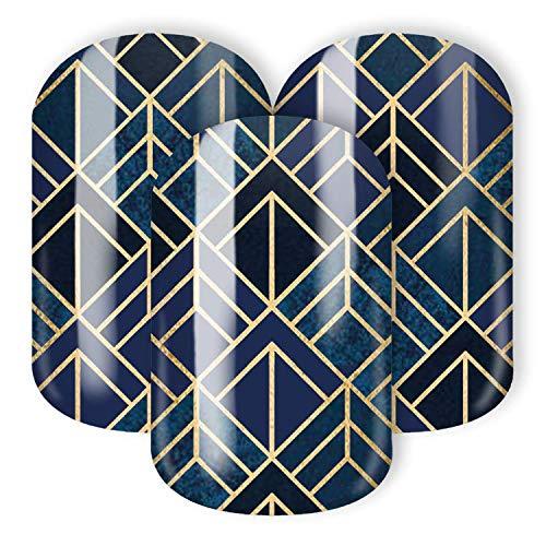 STICKER GIGANT Nagelfolie -'Goldnacht', Art Deco Dunkelblau Blau Gold, 22 hauchdünne selbstklebende Nail Wraps