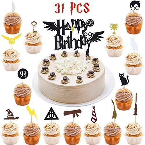 Wuree 31 PC Harry Potter inspiriert Cake Topper Sets Filz Kuchen Topper für Harry Themen Zauberer Themed Happy Birthday Party Supplies Dekoration