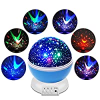 Aisuo Night Light Projector, Remote Control Star Lamp with 4 Model Lights Support 360 Rotating and USB Cable, Romantic Home Decoration Lamp, Gift for Kids Baby Children (Blue)