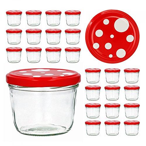 25er Set Sturzglas 230 ml To 82 Fliegenpilz Deckel rot weiß gepunktet Marmeladenglas Einmachglas Einweckglas