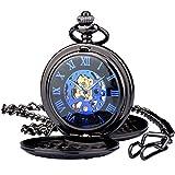Reloj de Bolsillo Mecánico Zeiger Reloj de bolsillo Steampunk Esqueleto Mecánico Cobre Gusset Estilo Retro Reloj de bolsillo colgante Reloj Gusset Negro W487