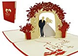 LIN 17536, Pop - Up 3D Karte Hochzeit Grußkarte, Pop Up Karten Hochzeit, Hochzeitseinladungen 3D Karten Hochzeit, Hochzeitsglückwunsch, Hochzeitskarten, Hochzeitstag, N290