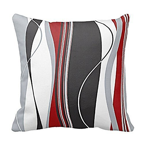 Love-Y, federa di cuscino quadrata a strisce verticali rosse, nere, bianche e grigie, in cotone e lino, da divano, 50,8cm x 50,8cm, stampa su entrambi i lati