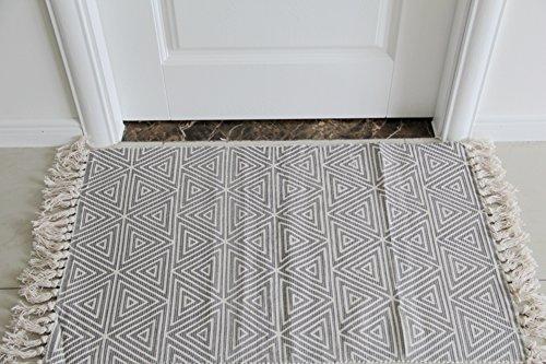 SangreAzul Handgemachter Einfache Baumwolle Teppich,Innenaußenbereich-Wolldecke Dauerhafte Kleine Matte Rechteck-Kreisförmiger Einfacher Sauberer Waschbarer Maschinen-Teppich-D 60x130cm(24x51inch) - Saubere Jute-teppich