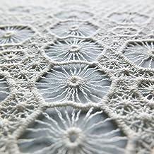 Hexagonal geométrico Crochet crema tela de encaje–130cm de ancho–se vende por metro