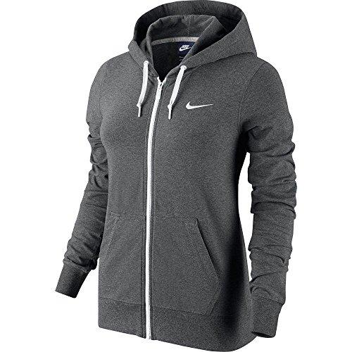 Nike Damen Kapuzenjacke Jersey FZ, charcoal heather/bianco/bianco, XS, 614829