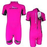 SKINFOX YOUNGSTER Kinder Strandanzug Neoprenanzug Schwimmanzug Shorty pink Gr.1(87,5cm)-6(132cm)