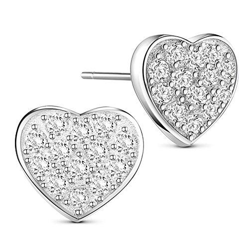 Sweetiee semplice elegante orecchini in argento 925 con micro pave aaa zirconia cubica di cuore, platino, 8mm