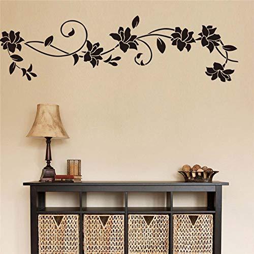 Diy vinilo negro flores flor vid etiqueta de la pared calcomanía hogar...