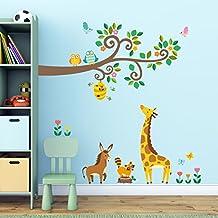 Decowall DW-1512 Ramas de Tronco y Animales Vinilo Pegatinas Decorativas Adhesiva Pared Dormitorio Salón Guardería Habitación Infantiles Niños Bebés