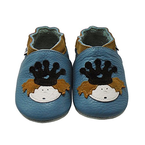 Mejale Weiche Sohle Leder Babyschuhe Lauflernschuhe Krabbelschuhe Kleinkind Kinderschuhe Hausschuhe Karikatur Eule Himmelblau