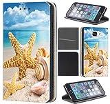 Samsung Galaxy S4 Mini Hülle von CoverHeld Premium Flipcover Schutzhülle Flip Case Motiv (1217 Strand Urlaub Muscheln Braun Blau)
