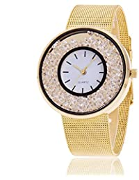 Reloj de Pulsera para Mujer, Reloj Elegante con Esfera de Doble Círculo y Abalorios de