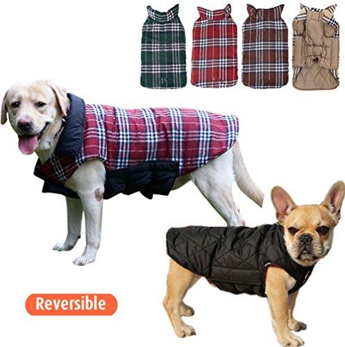 Nobbies Weihnachten Kostüme (UMALL Gitter Hundemantel Winter Hunde Wasserdicht Warm Hundejacke für Hunde Reversibel)