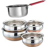 ROYAL SAPPHIRE Serving & Cookware Set - Handi 4 Pcs. Set.Copper Bottom - 1 Handle Sauce Pan.Stainless Steel - Multipurpose HEAVY GAUGE