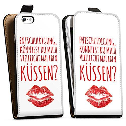 Apple iPhone X Silikon Hülle Case Schutzhülle Liebe Küssen Sprüche Downflip Tasche schwarz