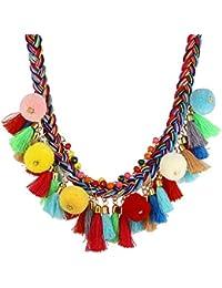 Lureme bohémien Handmade Coloré Braided avec Pom Pom et Tassels Statement Collier Collar (nl005628)