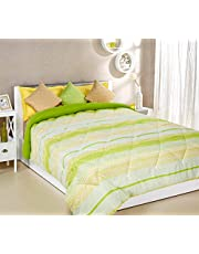 Amazon Brand - Solimo Xander Microfibre Printed Comforter, Double, 200 GSM, Green and Yellow