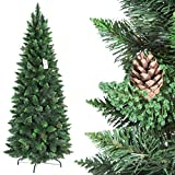 FairyTrees Artificiale Albero di Natale Slim, Pino Verde Naturale, Materiale PVC, Vere pigne, incl. Supporto in Metallo,...