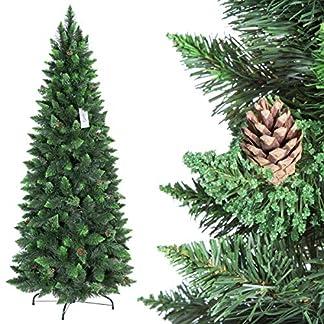 FairyTrees Árbol de Navidad Artificial Slim, Pino Natural Verde, Material PVC, Las piñas verdaderas, el Soporte de Madera, 150cm, FT08-150