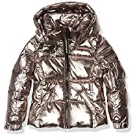 S13 Girls' Toddler Metallic Mogul Down Puffer, CHAMPAGNE, 4