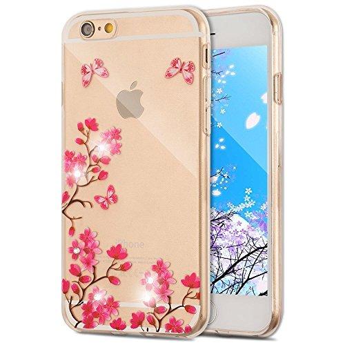 iPhone 8 Plus / 7 Plus 5.5 Zoll Hülle Transparente TPU Silikon Bumper Case Soft Gel Schutzhülle Cover,iPhone 8 Plus 5.5 Zoll Hülle Glitzer Silikon Case für iPhone 7 Plus,iPhone 8 Plus Hülle (5.5 Zoll) X Diamond Flower 1