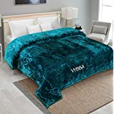 VYBBA Blankets || 3000 TC Super Soft Mink Double Bed Blanket for Winter , (EMBED Green)