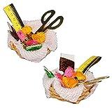 Unbekannt Nähkorb mit Garn, Schere, Maßband und Stoff - Miniatur / Maßstab 1:12 - Zubehör Puppenstube / Puppenhaus - Nähmaschine Nähkörbchen Nähen Basteln Set