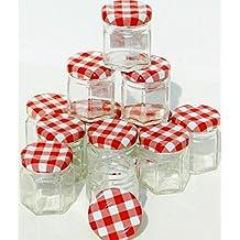 Lot x12Mini 45ml tarros de mermelada de cristal con tapa Metal cuadros Vichy rojo