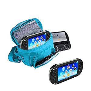 Orzly – SPIELE & KONSOLEN (REISE-) TASCHE für die Sony PSP Konsolen (GO / VITA /1000/2000/3000) mit speziellen Fächern für die Aufbewahrung von Spielen und Zubehör. Tasche enthält Schultergurt, Tragegriff und eine Gürtelschlaufe – Blau