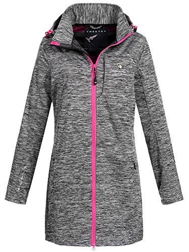 X-Land Damen Softshell Kurzmantel Manaus Funktions Outdoor Jacke abnehmbare Kapuze meliert grey/pink M