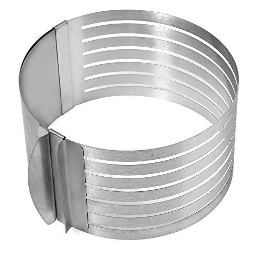 Verstellbare Edelstahl-Kreis-Schicht Mousse Kuchen Schneide Mould Schnitt Tool 16 - 20cm / 6.3 - 7.87 inches (Tan-jungen Shirt)