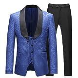 Sliktaa Herren 3-teiliger Anzug bedrückt die blau geblümte Stoffes mit der Art und mit Schalkragen.