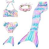 RandWind Coda da Sirena Bambini Cosplay Costumi da Bagno Mermaid Shell Costume da Bagno 3pcs Insiemi del Bikini (150(10-12 Anni), NewRainbow)